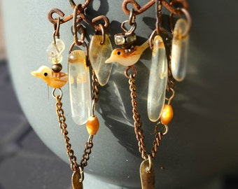 Songs of Joy. Assemblage Zuni Birds Boho Gypsy Dangle Earrings Dark Patina Copper. Recycled old beads. Gift for Her. Feeriee13