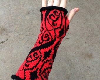 Pokémon Teams Waving Brocade Pattern Knitted Arm Warmers- Valor, Red