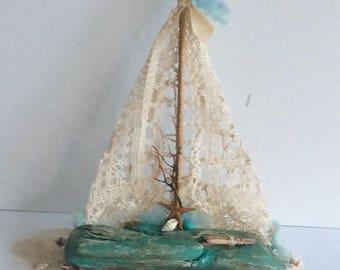 Driftwood Sailboat Turquoise