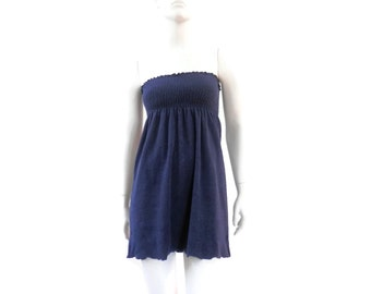 Tube Top Dress Beach from the 1970's  Cover Up Navy Blue Terry Cloth Old Store Dead Stock sz M  #97