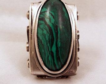 Malachite in Oxidized Sterling Silver