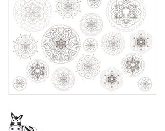 A3 Wrapping Paper to Color-Jewish Mandalas Printable-Poster Print Color-Mixed Media-Judaica Art Supplies Online-Gift Ideas-INSTANT DOWNLOAD