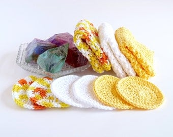Cotton Washcloths Cotton Scrubbies Cotton Dishcloths Crochet Washcloths Kitchen Bath Body Face Scrubbies Rounds Spring Easter