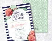 BIG HAT bridal shower invitation they're off to the altar big hat brunch wedding shower luncheon navy mint coral kentucky derby horse race