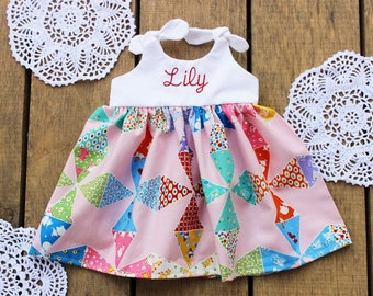 Patchwork dress, Spring Dress, Easter outfit, monogrammed baby dress, coming home outfit, personalized, knot dress, personalized, vintage