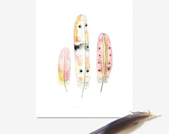 Feather Painting, Boho Decor, Tribal Art, Pink Feathers Print, Wall Art for Girls, Teens Watercolor, Pastel Giclee Print