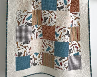Baby Boy Quilt featuring Wild Things by Desiree for Quilting Treasures Blue Grey Brown White Red Yellow