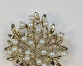 Pearl Tree of Life Magnetic Brooch Acrylic Rhinestone Sash Pin Pageant or Portuguese Knitting Pin in Gold