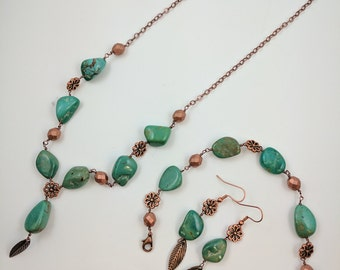 Turquoise and Copper Necklace Set