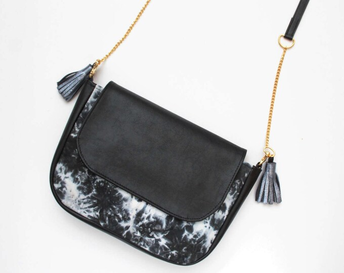 CLASSIC SADDLE 2 / Vegan leather purse-natural leather bag-black leather cross body-dyed black and white tie dyed handcolored-shoulder bag