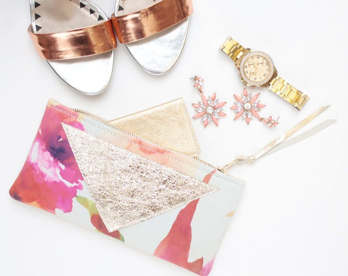 Reserved for Jyoti/Cotton pouch-natural leather pouch-floral watercolor-make up bag-cosmetic purse-small metallic leather purse /FLARE 133
