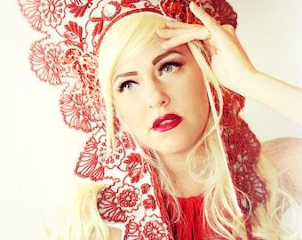 Vintage RED white beaded halo Crown headpiece fascinator hat headdress high fashion accessory crown tiara, kokoshnik
