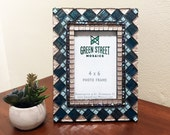 4 x 6 Picture Frame, Mosaic Picture Frame, Aqua Teal and Copper