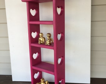 Tall Vintage Cubby Shelf / Magenta Pink / Shabby Cottage Standing/Hanging Shelf