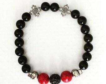 Mens bracelet. Handmade jewelry. Stretch bracelet. Skull and rhinestone bracelet. Red and black bracelet. Rocker bracelet. Sugarplum Gallery