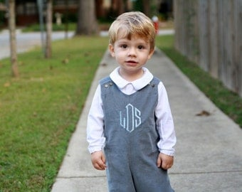 Grey Baby Clothes - Grey Overall - Grey Baby Outfit -Corduroy Overall - Personalized Jon Jon - Monogrammed Boy Clothes - Winter Baby Clothes