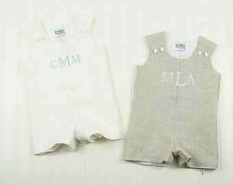 Chistening Suit for Boys - Linen Romper for Baby Boy - Christening Outfit for Boy - White Linen Christening Romper - Monogrammed Christening
