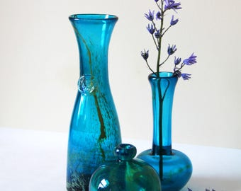 Vintage Mdina Glassware - Gorgeous Blue Mdina Glass - Choose from Carafe, Bud Vase or Bulbous Vase - Inspired by the Sea