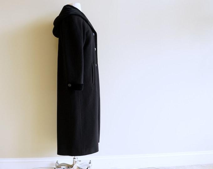 Black Wool Hooded Coat Velvet Trim MEDIUM LARGE Vintage Winter Coat Lambswool Traditional Long Coat with Cowl Hood by Forecaster of Boston