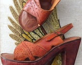 Platform Sandals Vintage 70s Boho Leather Heels - Ladies Size 9