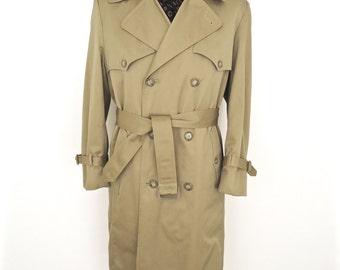 London Fog Khaki Trench Coat / vintage Towne double breasted tan over coat, belted rain coat / men's medium