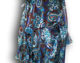 Silk tunic, loose and  thin of a finest  italian silk wide open neck and the belt
