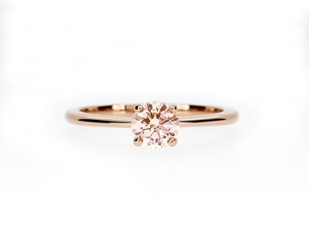 Peach morganite solitaire ring made from rose gold, morganite engagement ring, thin, unique ring, morganite wedding, simple engagement rings