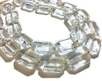 Chunky Clear Crystal Statement Necklace, Faceted Everyday neutral jewelry, statement necklace, silver or gold accents chunky bib necklace