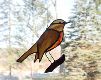 Robin Stained Glass Suncatcher Bird, American Robin, Glass Art