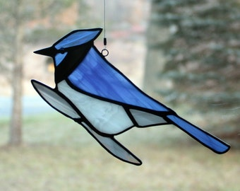 Bluejay Stained Glass Suncatcher Bird, Glass Art