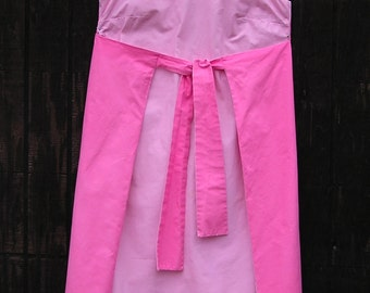 Vintage 1960s Pink Dress . Ties in Front . Two-Tone Dress