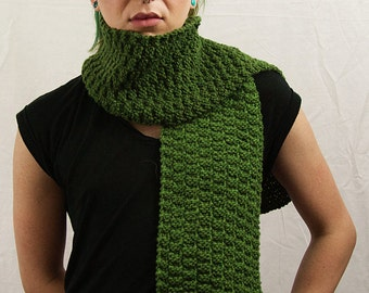 Hand Knit Scarf - Green (100% Wool)