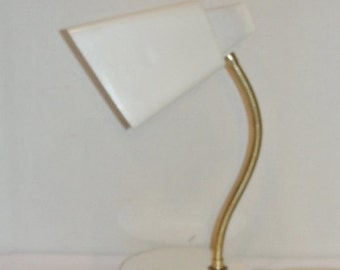 Vintage Desk Lamp Metal Gooseneck with White Square Shade