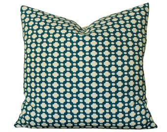Schumacher Indigo Blue Betwixt Pillow Cover- Textured, Geometric Design