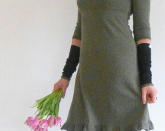 Dress 3/4-sleeve, form A, olive, warm, Empire
