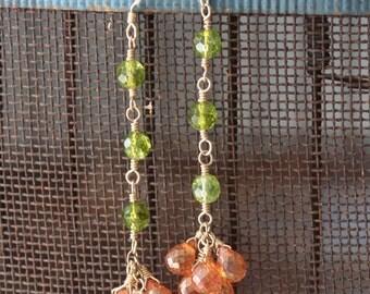 Alani Earrings: mystic tangerine quartz with apple green quartz on 14kt gold fill