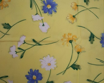 Daisies on Yellow Background  - Basket Weave Pique