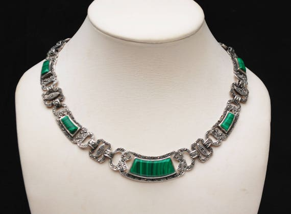 Sterling Marcasite Malachite  Necklace - Green gemstone - Silver link collar necklace - 17 inch - Art Deco style