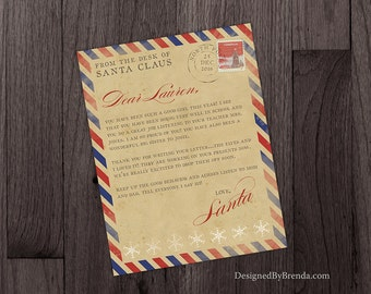 Vintage Style Christmas Letter from Santa Claus in North Pole, Custom Finished Digital File, Envelope Option, Rustic Airmail Postmark Stamp