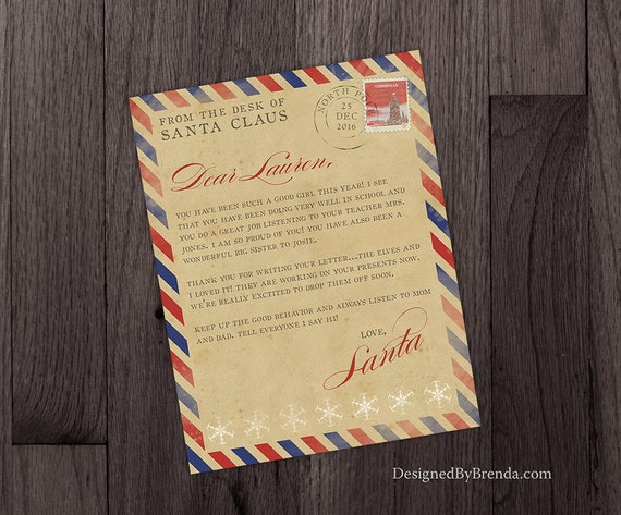 vintage style christmas letter from santa claus in north pole