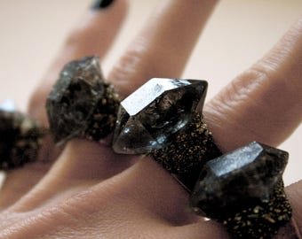 Tibetan Smoky Quartz Crystal Ring - Small // Double Terminated Crystal Adjustable Size Ring // Black Crystal Ring with Pyrite