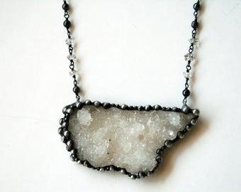 Large Crystal Cluster Druzy Necklace // Crystal Cluster Statement Necklace