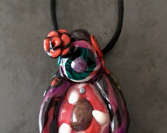 Vagina Dentata Pendant with Ruby and Amethyst Eyes, Wrathful Goddess, Feminist Art, Female Empowerment, Feng Shui Jewelry, Australian Seller