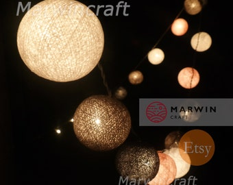 20 Cotton Balls Pinkgrey Tone Fairy String Lights Party Patio Wedding Floor Table Hanging Wall Gift Home Decor Living Bedroom Holiday Night