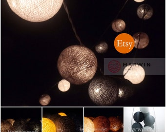 Battery Powered LED 20 Cotton Balls Fallen Earth & Grey tone Color Fairy String Lights Night Party Patio Wedding Table Hanging Gift  Bedroom