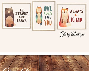 Printable, Set of 3, Woodland animal printable quotes, childrens room decor, playroom printables, inspirational quotes