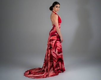 TakeOff - hand painted chiffon silk and sand wached silk, dress-trousers, one of a kind, haute couture