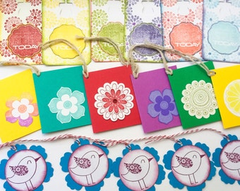 18 Handmade gift tags - set of gift tags - all occasion tags - Bright Floral Gft tags, flower gift tags - colorful tags - bird gift tags