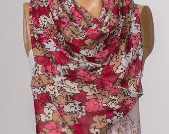 Pink and Beige and Red Cats Scarf. Long Animals Scarf Wrap. Spring neck wrap shawl. NEW Women neck wrap.