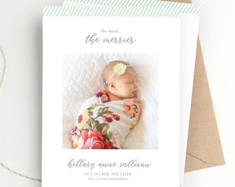 Holiday Photo Christmas Card | The More the Merrier | Christmas Birth Announcement | FREE SHIPPING | Printed Invitations or Print at Home
